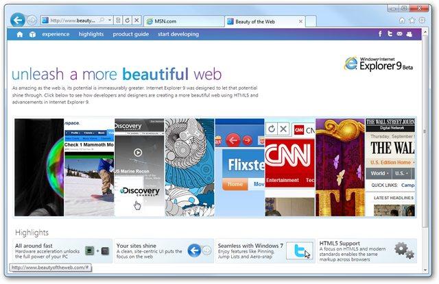 Internet Explorer 9 beta 3